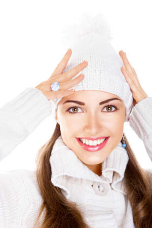 Happy snow-maiden toothy smile. Fresh winter young woman face photo
