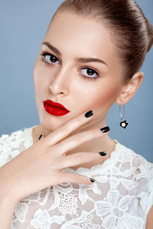 Portrait of beauty woman fashion model with gorgeous red lips Stock Photo - 16237250