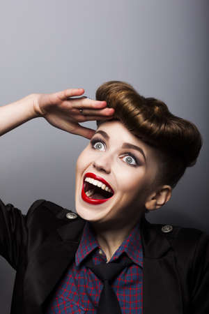 Amazing funny young female in parisian retro style - trendy hairstyle Stock Photo - 16237335