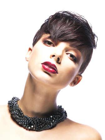 beautiful bangs: Portrait of glamorous young female - stylish fashion model looking