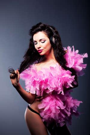 Nightclub  Beauty playful woman dancing - fancy dress party Stock Photo - 16333313