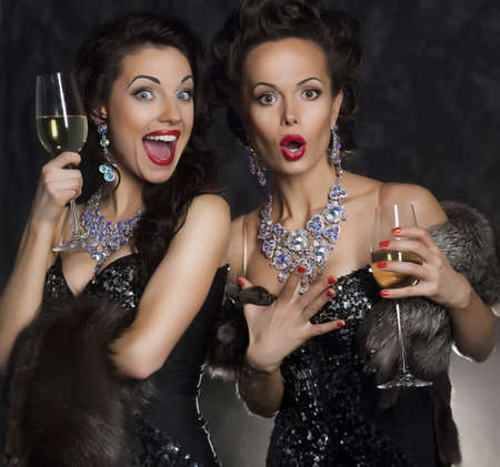 Couple of women celebrating and toasting birthday in restaurant. Holiday Stock Photo - 16319013