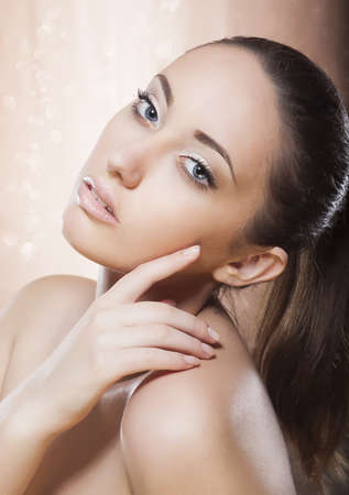 Portrait of young female with gold make up - spa concept Stock Photo - 16619287