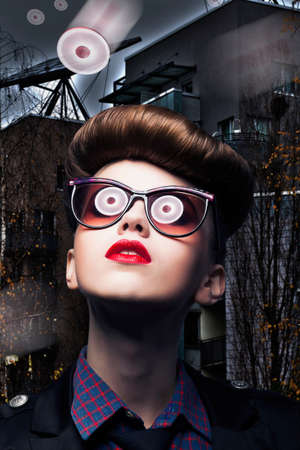 UFO  Alien  Fantasy - Flying Saucer Reflecting in Woman Glasses Stock Photo - 16673268