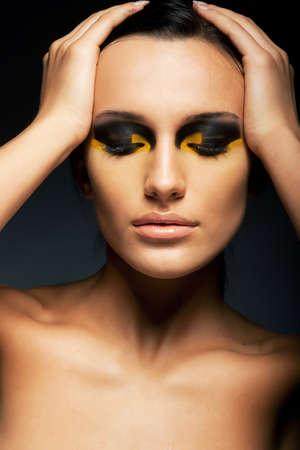 Sexy Female - Closed Eyes - False Lashes, Bright Makeup Stock Photo - 16673279