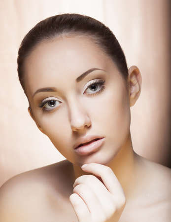 Fresh Young female Face - Spa concept, Cosmetology concept photo