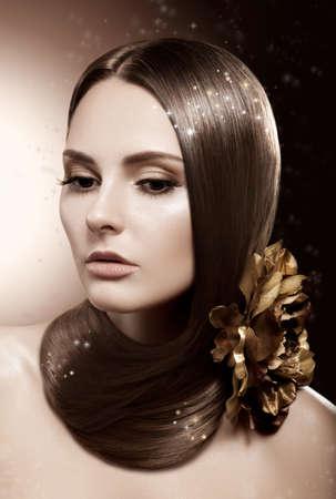 Beautiful Brunette Woman  Health Brown Straight Hair Stock Photo - 16673275