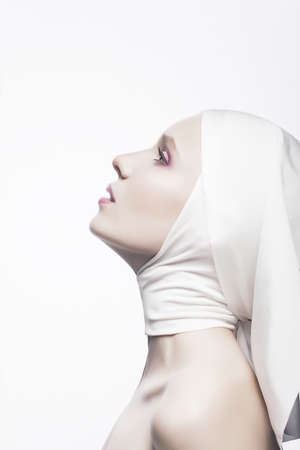 virgin girl: Grace. Cult. Praying Religious Female - Church Concept Stock Photo