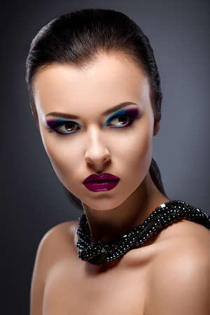 Beauty Stylish Girl closeup Portrait - Bright Evening Makeup photo