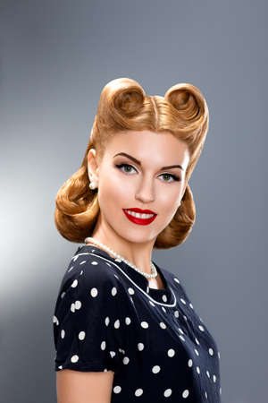 Pin up Style. Stylish Fashionable Model in Retro Dress - Glamour photo