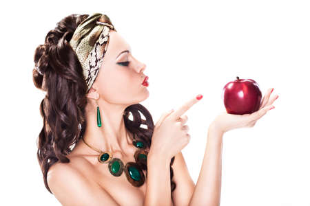 Beauty Woman Choosing a Healthy Apple - Dieting concept photo