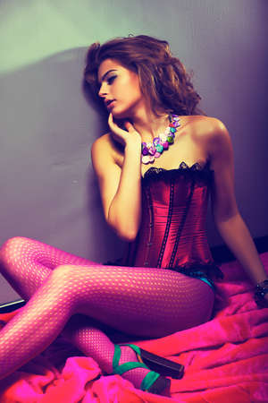 Vogue Style. Pretty girl in Red Lingerie - Elegance