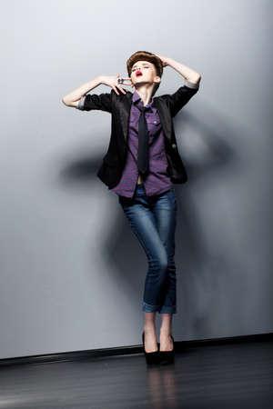 Retro Style.  Emotions. Pin-Up Fashion woman posing in Studio. Glamor Stock Photo - 16859061