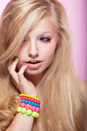 Beautiful Young Bright pretty Girl with Colorful Bracelets Stock Photo - 16859065