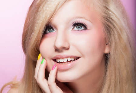 Closeup Portrait of Happy Toothy Smiling girl Blond Hair Stock Photo - 16859053