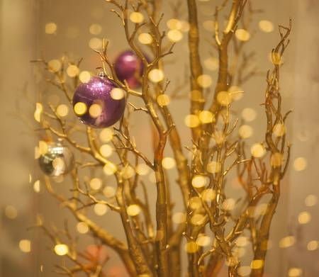 Christmas Tree Decor - Gilded Gold Bokeh Background photo
