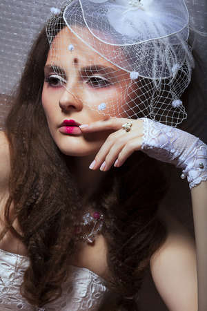 stagy: Beautiful Fashionable Woman in White Retro Veil - Romance style