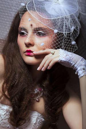 stagy: Beautiful Fashionable Woman in White Retro Veil - Romance style