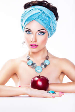 Attractive Woman with Apple - Healthy Wholesome Food Stock Photo - 16854813