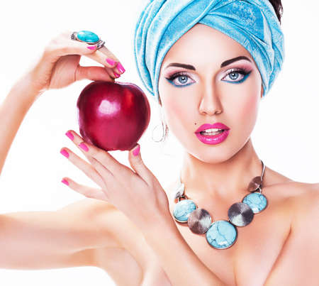 Beauty style - Young Woman with Red Apple Stock Photo