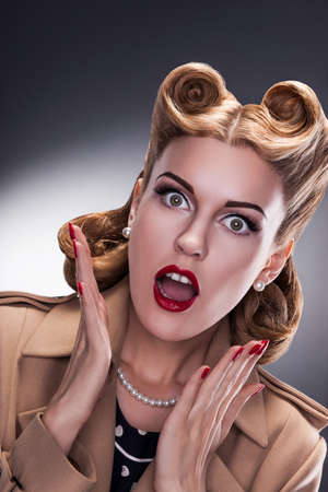 Sales - Surprised Retro Woman Shopper Stock Photo - 16854853