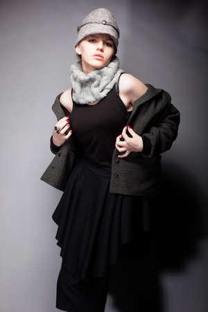 Pretty Woamn in Woolen Coat and Cap - Romantic Style Stock Photo - 16854810
