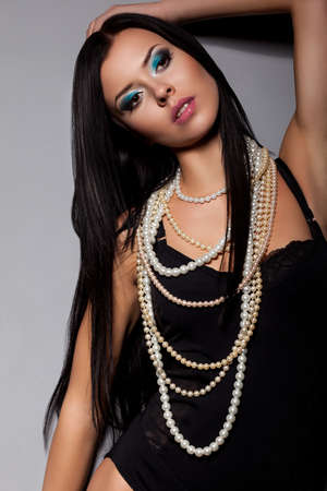 tempting: Tempting woman in Black Lingerie with Beads