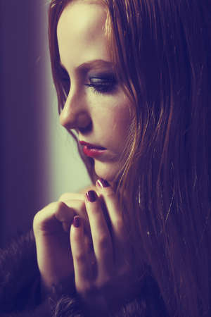 Plea. Confession. Sad Woman Praying. Grace. Sorrow and Hope Stock Photo - 17049322