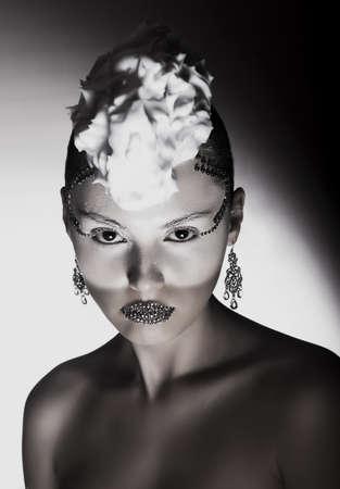 Contemporary Art Design. Fashion Woman Black and White Portrait Stock Photo - 17045692