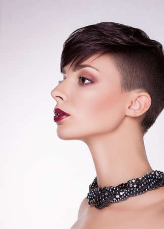 imposing: Aristocratic Profile of Modern Imposing Woman - Short Hairs, Bob Stock Photo