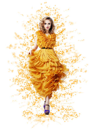 Fashion Trendy Woman in yellow dress - Modern Style Stock Photo - 17130126