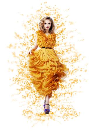 Fashion Trendy Woman in yellow dress - Modern Style Stock Photo - 17130126
