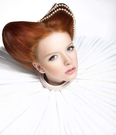Beautiful Red Head Duchess in Jabot - Retro Style. Dramatic Theatrical Makeup. Masquerade photo