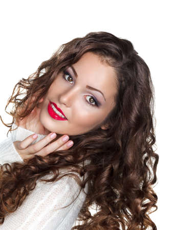 elation: Romantic Curly Brunette Girl in White Warm Sweater - Elation Stock Photo