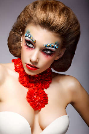 Theatre. Classy Woman with Fantastic Stagy Colorful Makeup. Fantasy Stock Photo - 17240077