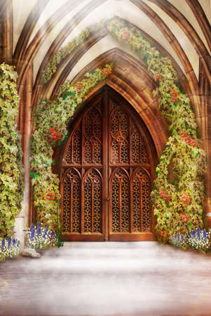 Wooden Church Ancient Door  Antique Retro Archway and Doorway Stock Photo - 17281318
