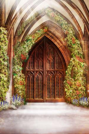 gateway: Wooden Church Ancient Door  Antique Retro Archway and Doorway Stock Photo