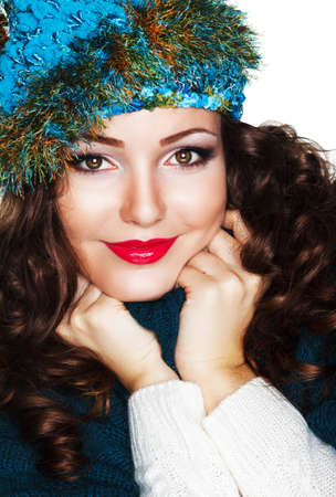 Happy Woman in Blue Knitted Cap and Knitwear - Warm Jersey Stock Photo - 17347185