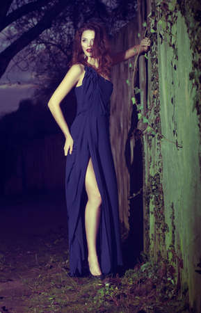Fashion Model in Modern Blue Dress posing Outdoors Stock Photo - 17347184