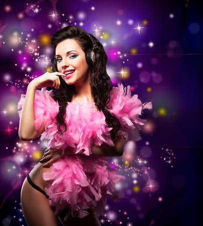 Sparking. Shiny Happy Woman Dancing - Fancy Dress Party. Disco Lights Stock Photo