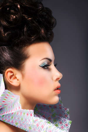 Renaissance. Noble Woman with Frill - Bright Hairstyle and Make Up photo