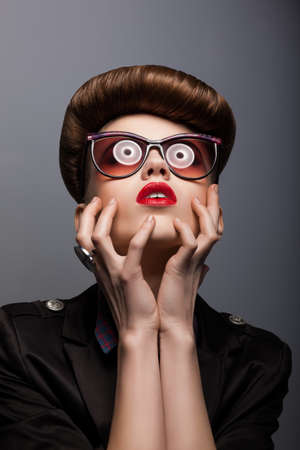 Parody. Portrait of Mimic Woman in Future glasses - Fantasy photo