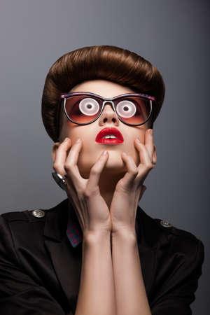 Parody. Portrait of Mimic Woman in Future glasses - Fantasy Stock Photo - 17423547