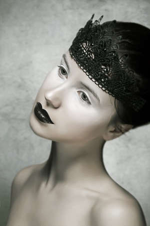 Beautiful Brunette Fashion Model with Black Lips Make-up Stock Photo - 17424999