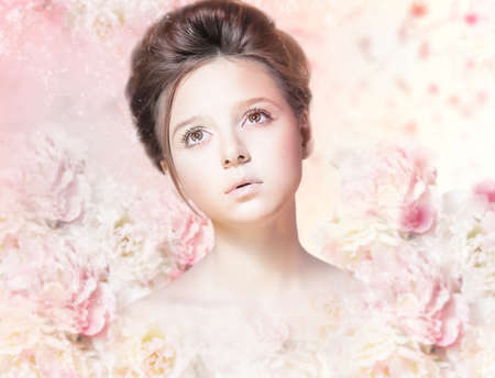 vestal: Beautiful Woman Face with Natural Makeup over Floral Rose Pattern