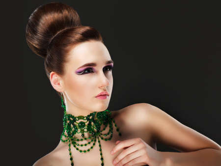 Aristocracy. Gorgeous Young Caucasian Brunette Posing. Series of photos Stock Photo