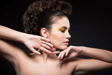 muse: Femininity. Muse. Profile of Young Woman with Clean Healthy Skin Stock Photo