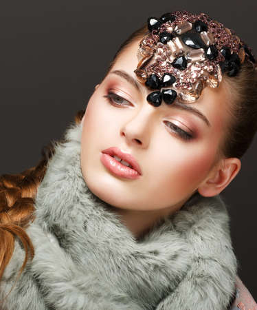 Fantasy. Russian Woman fashion Model with Brilliant Crown photo