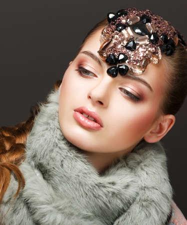 Fantasy. Russian Woman fashion Model with Brilliant Crown Stock Photo - 18058918