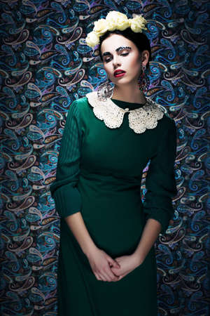 Romantic Young Styled Woman in Green Vintage Dress  Pin-up photo